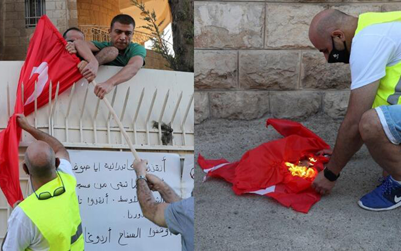 Kudüs'te Türk Bayrağı'na çirkin saldırı! Ayasofya kararı kudurttu