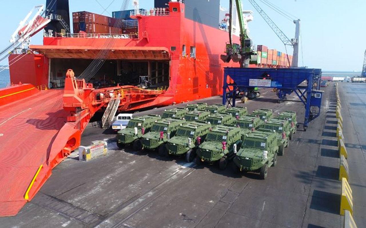 Türk zırhlı muharebe aracı Hızır'dan ilk ihracat! Gemiye yüklendi Afrika'ya gidiyor