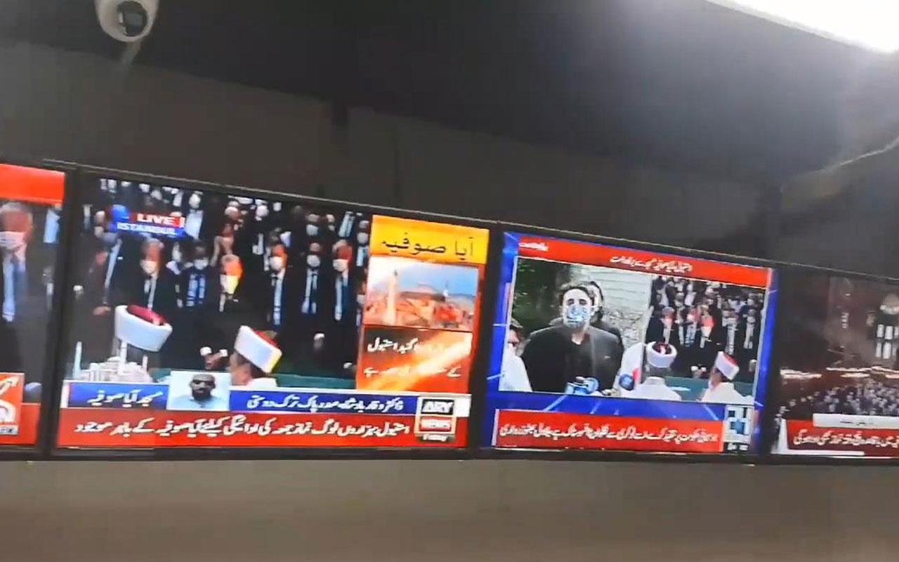 Ayasofya'da cuma namazı Pakistan haber kanallarında canlı yayınlandı
