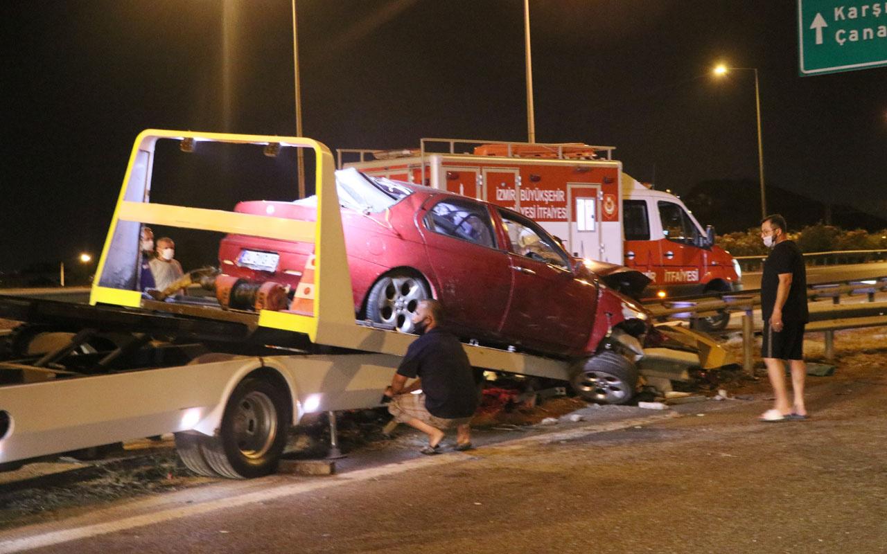 İzmir'de otomobil bariyere ok gibi saplandı: 1 ölü