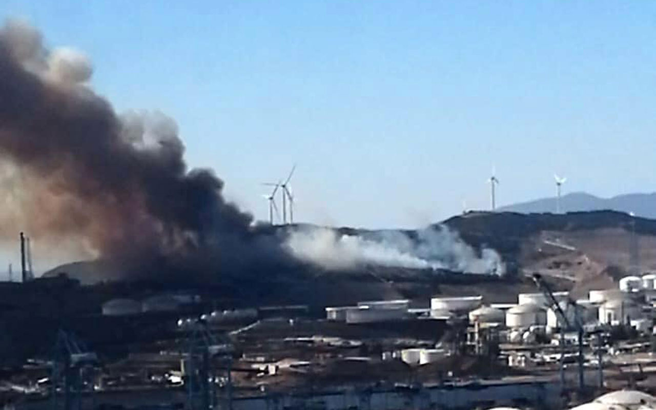 İzmir'de iki yerde yangın çıktı! Biri PETKİM rafinerisinin hemen yanında