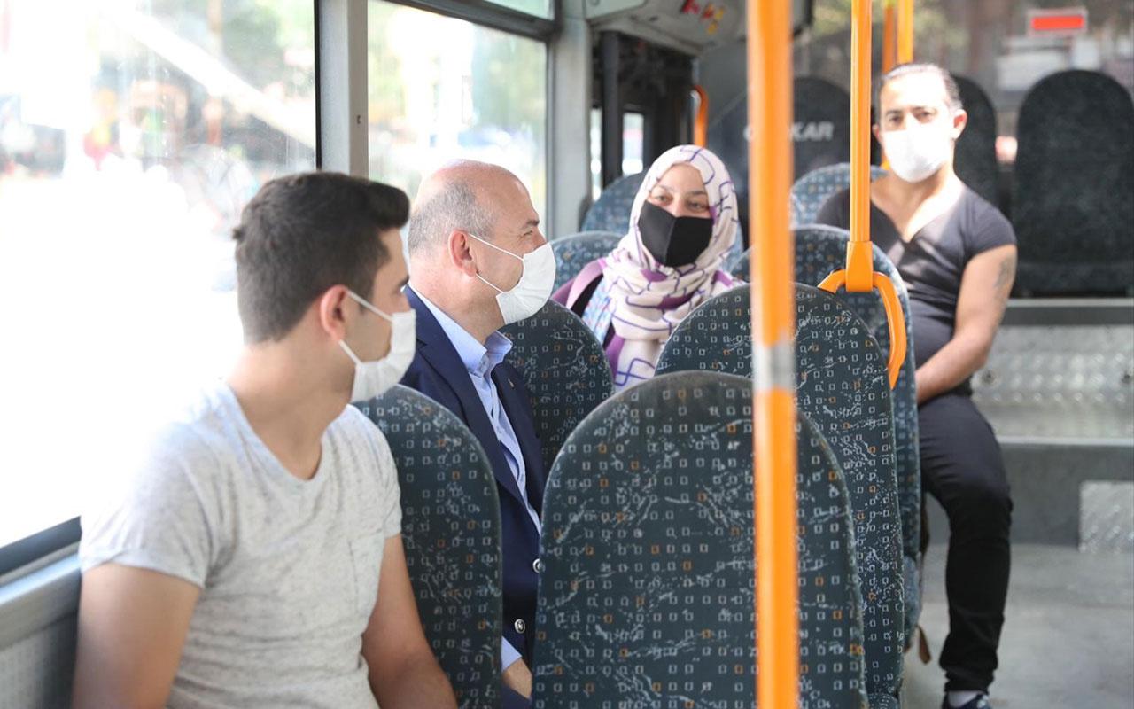 İçişleri Bakanı Süleyman Soylu Mamak'ta halk otobüsüne bindi