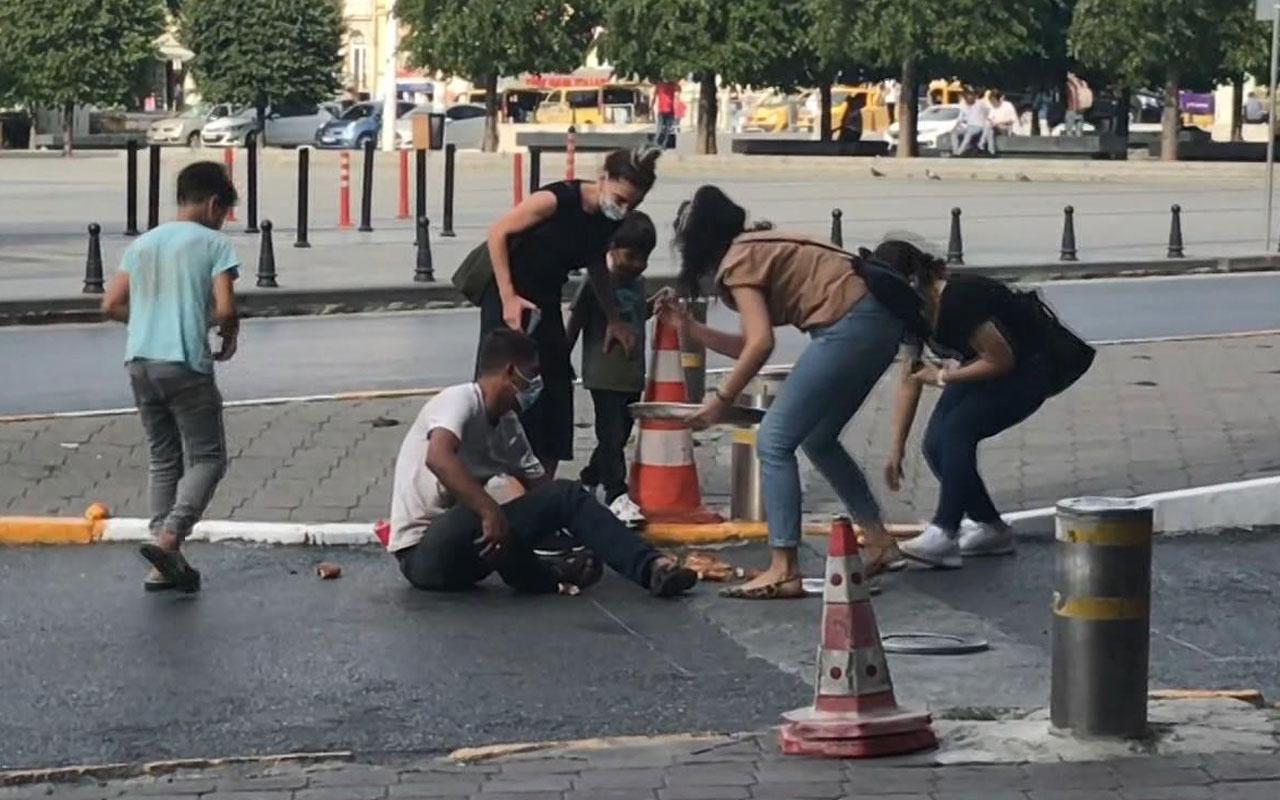 Taksim'de dilenciden 'oscarlık' duygu sömürüsü! Sahte simitçi kılığında...