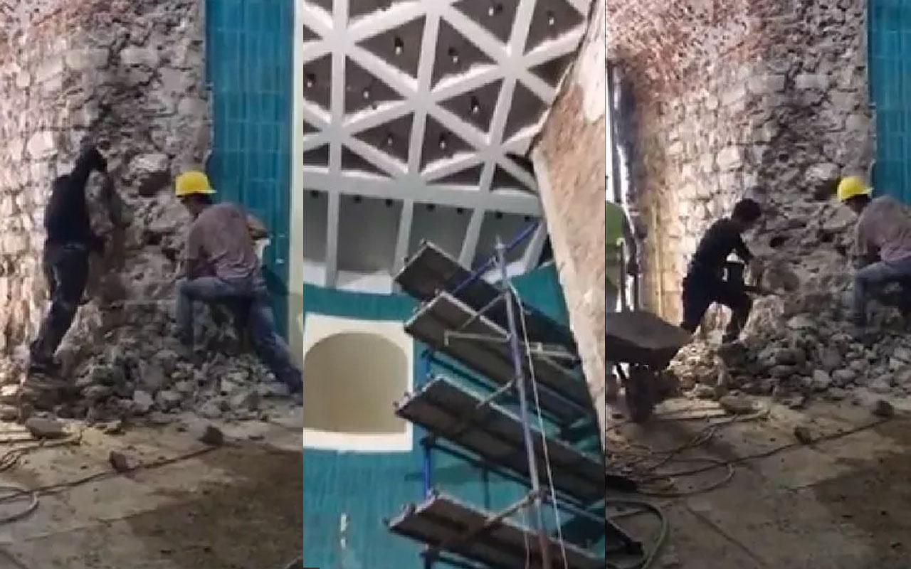 Galata Kulesi'ndeki restorasyon görüntüsü olay oldu! Böyle restorasyon mu olur