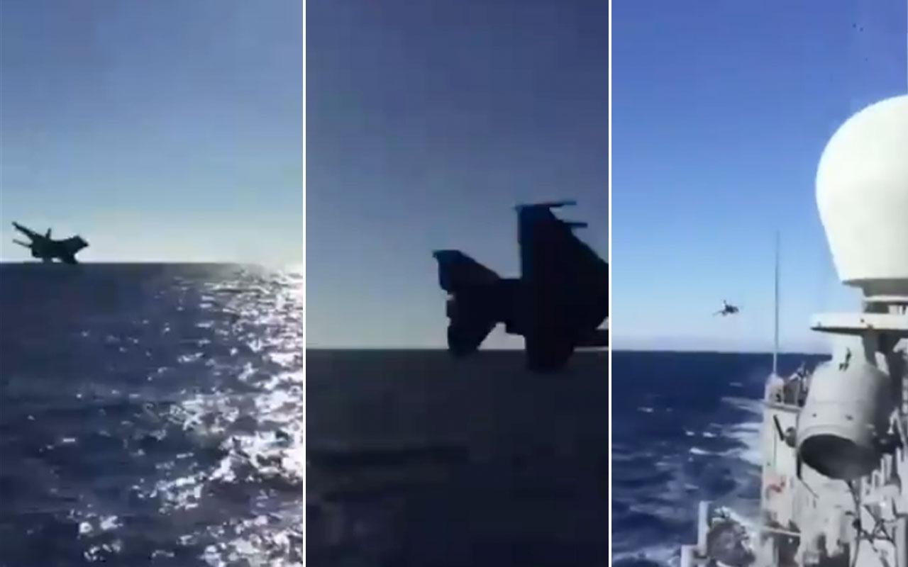 Türk F-16 savaş uçağı Oruç Reis'e böyle selam verdi o anlar kamerada