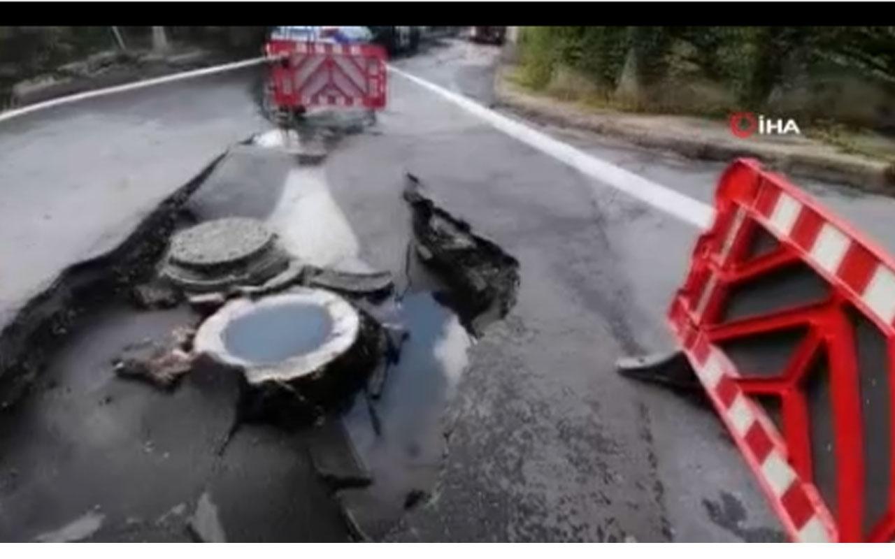 Korku dolu dakikalar! Beşiktaş'ta yol çöktü araç içine düştü