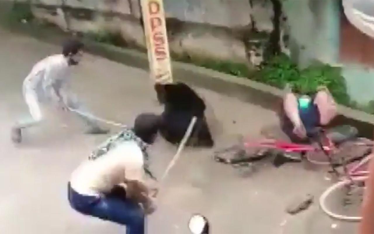 Hindistan'da sokak ortasında ayı saldırısı