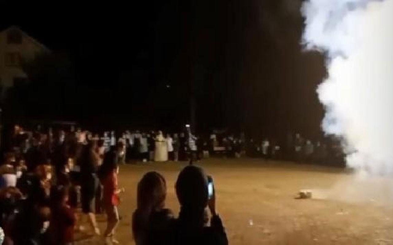 Köy meydanındaki düğünde magandalar sahneye çıktı
