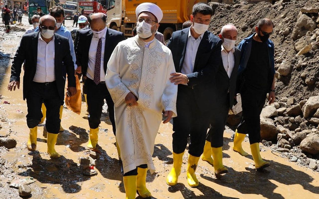 Diyanet İşleri Başkanı Ali Erbaş Giresun'daki selde hasar gören camileri inceledi