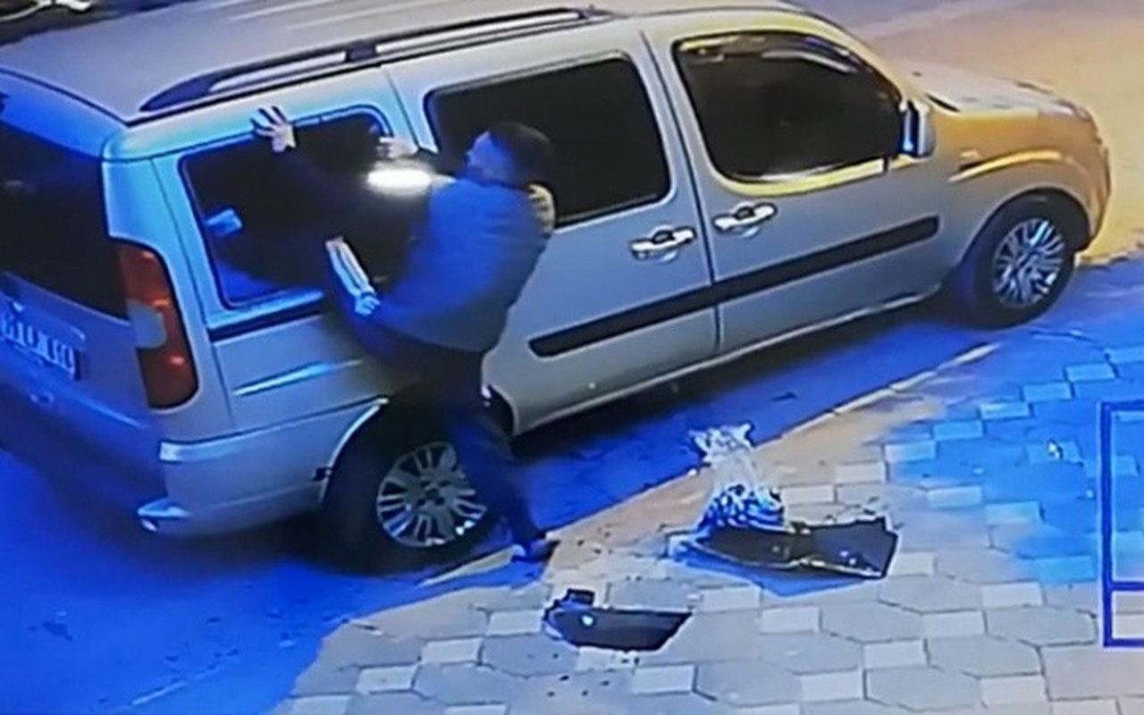 Zeytinburnu'nda camını kırdığı arabaya uyumak için böyle girdi