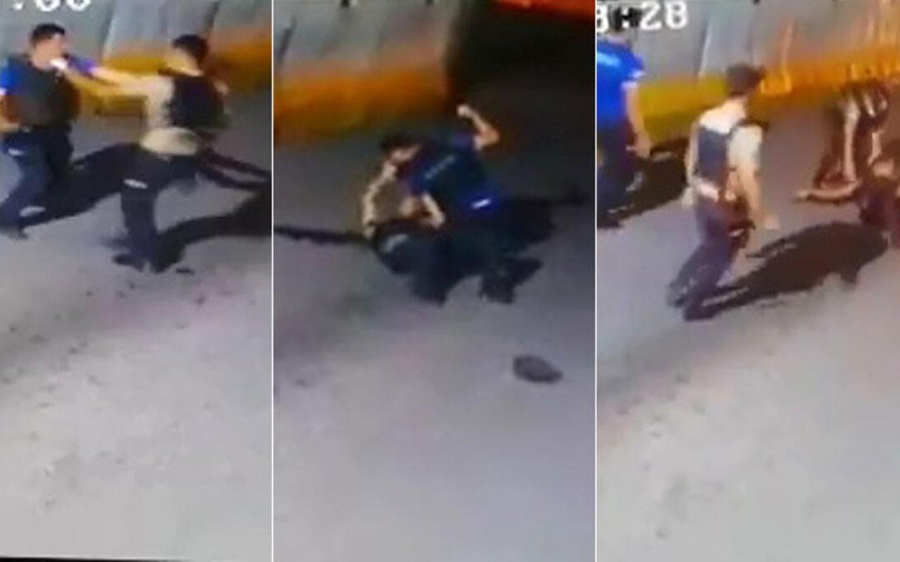 Şırnak'ta bekçi ile polis nöbette kavga etti! O anlar güvenlik kamerasına yakalandı