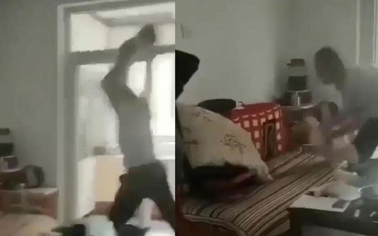 Samsun'dan dehşete düşüren görüntüler! Çocuğunu havaya kaldırıp çekyata fırlattı