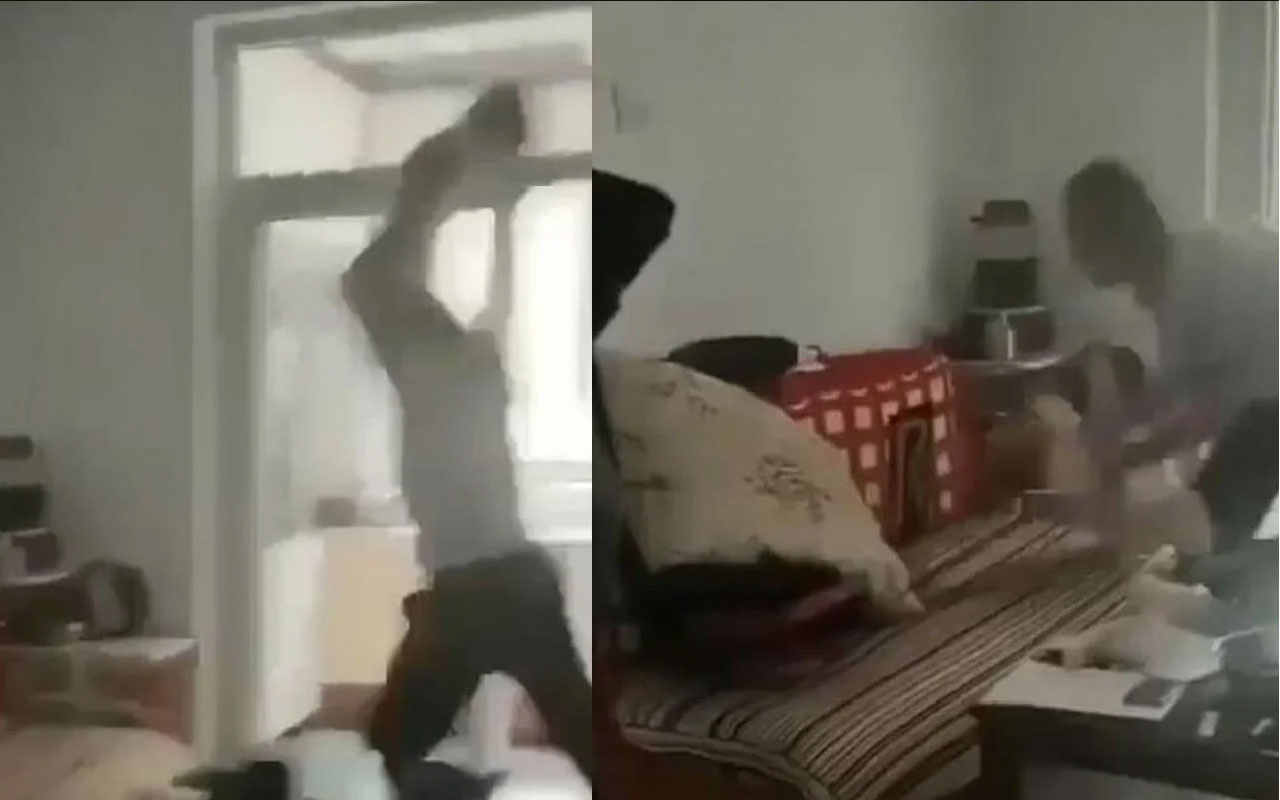 Çocuğunu havaya kaldırıp çekyata fırlattı! Dehşete düşüren görüntüler