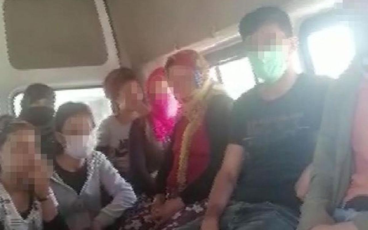 Konya'da şok görüntüler! Minibüsten 31 kişi çıktı