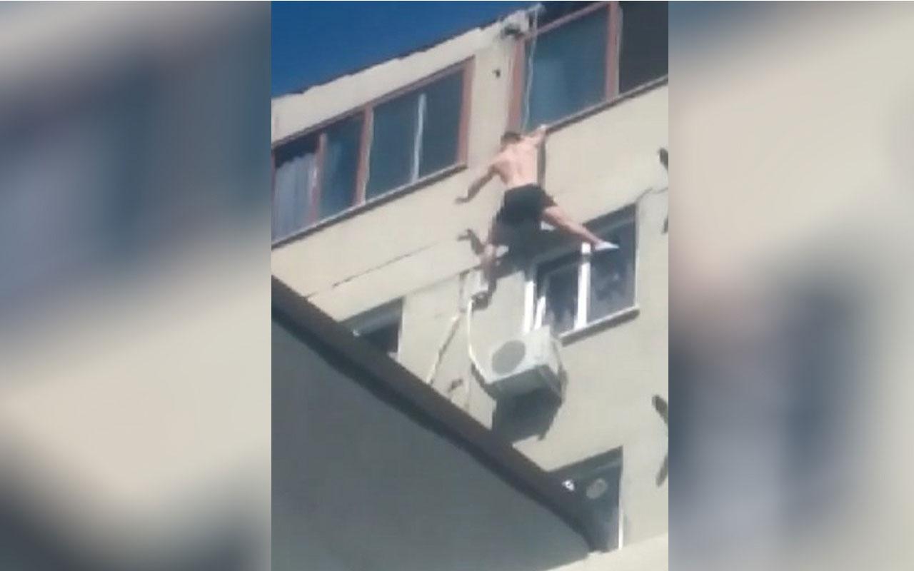 Beyoğlu'nda pencereye tırmanmak isterken 7. kattan düştü o anlar kamerada