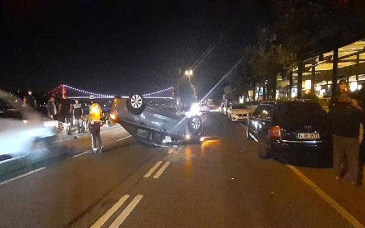 Feci kaza! Sarıyer'de park halindeki otomobile çarpıp takla attı