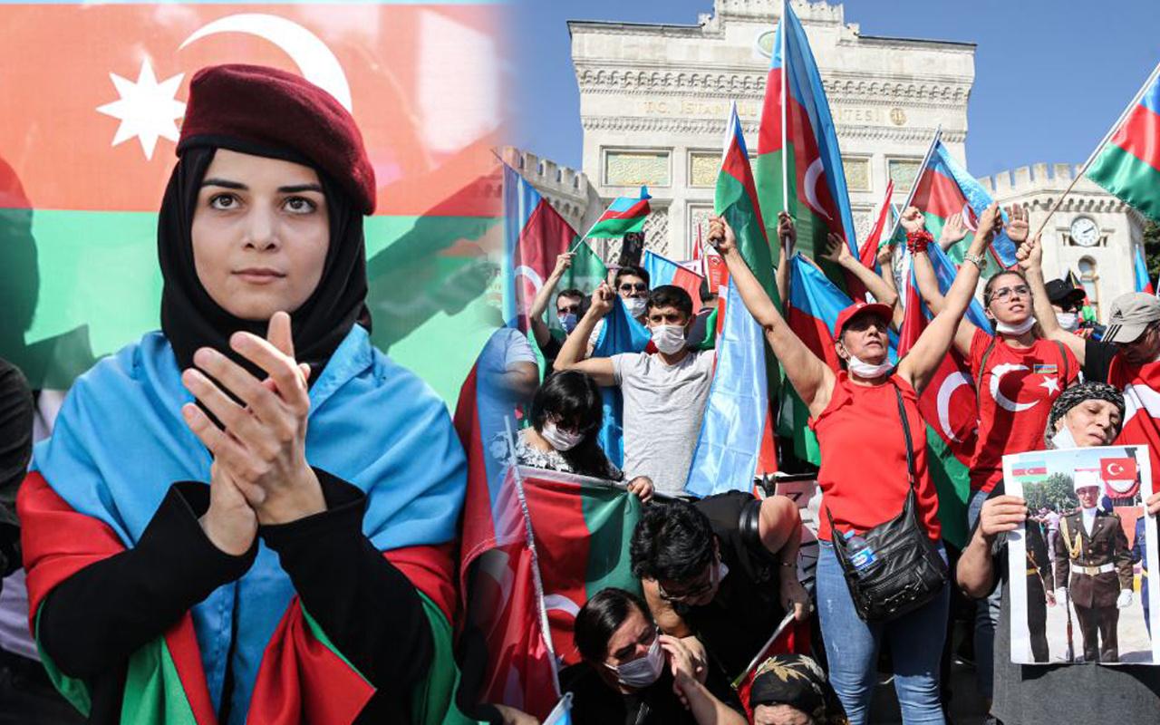Azerbaycan bayrağını alan Beyazıt'a koştu! İstanbul'dan destek sloganları