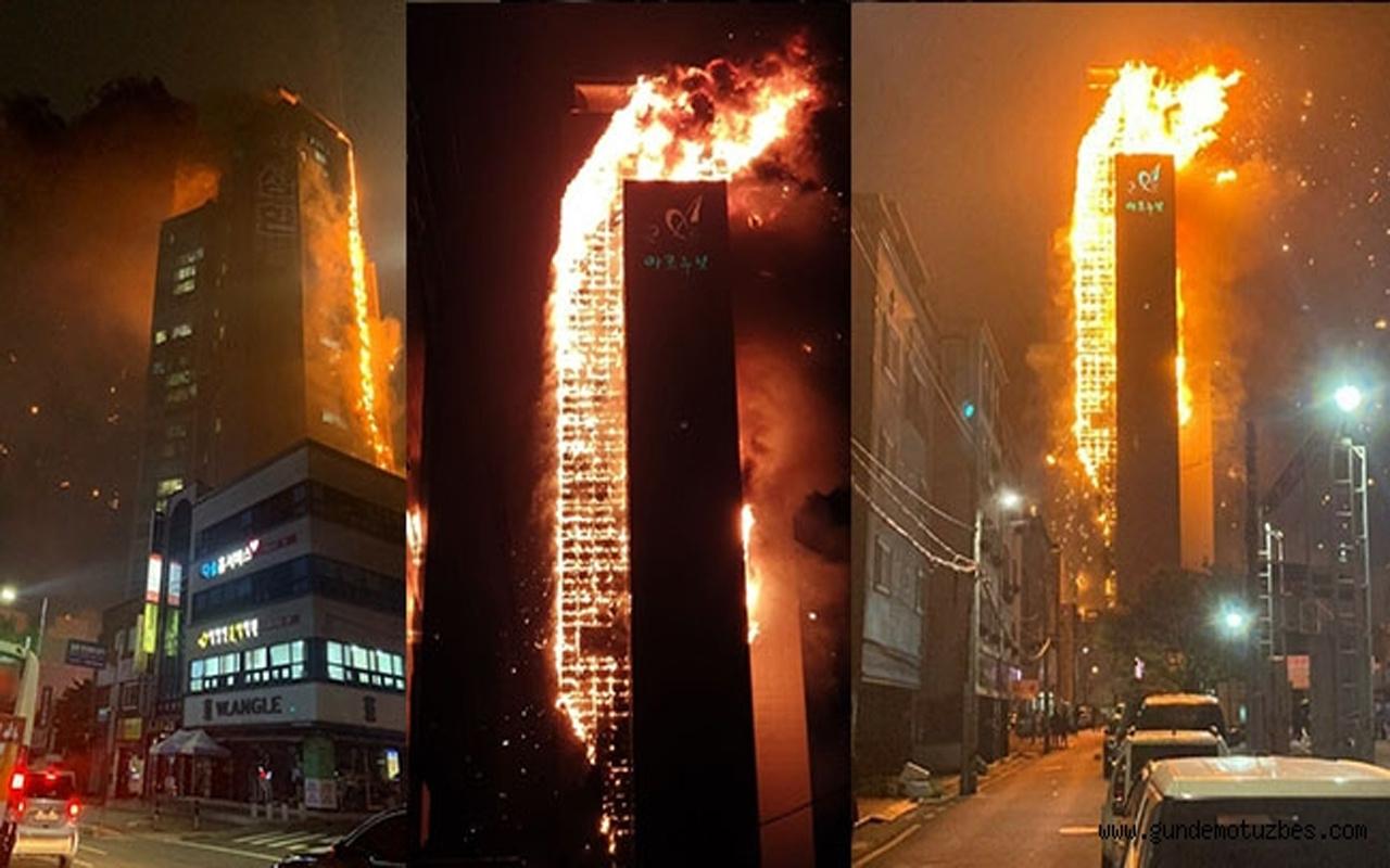 Güney Kore'de 33 katlı gökdelen bir anda alev topuna döndü! Çok sayıda yaralı var