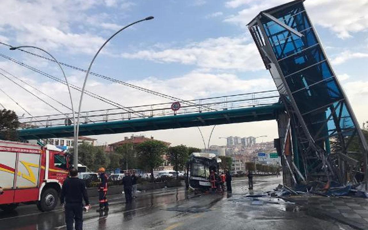 Ankara'da belediye otobüsü üst geçit asansörüne çarptı! Yaralılar var