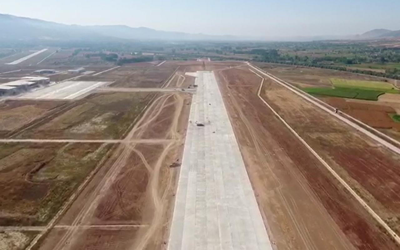 Tokat'ta yeni havalimanı inşaatı havadan görüntülendi