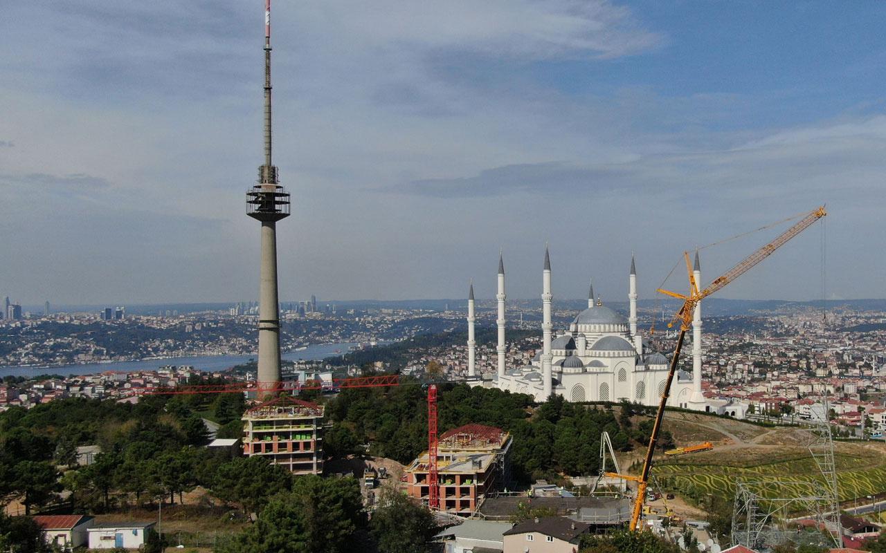 Çamlıca'da 40 yıldır hizmet veren TRT verici kulesinin sökümüne de başlandı