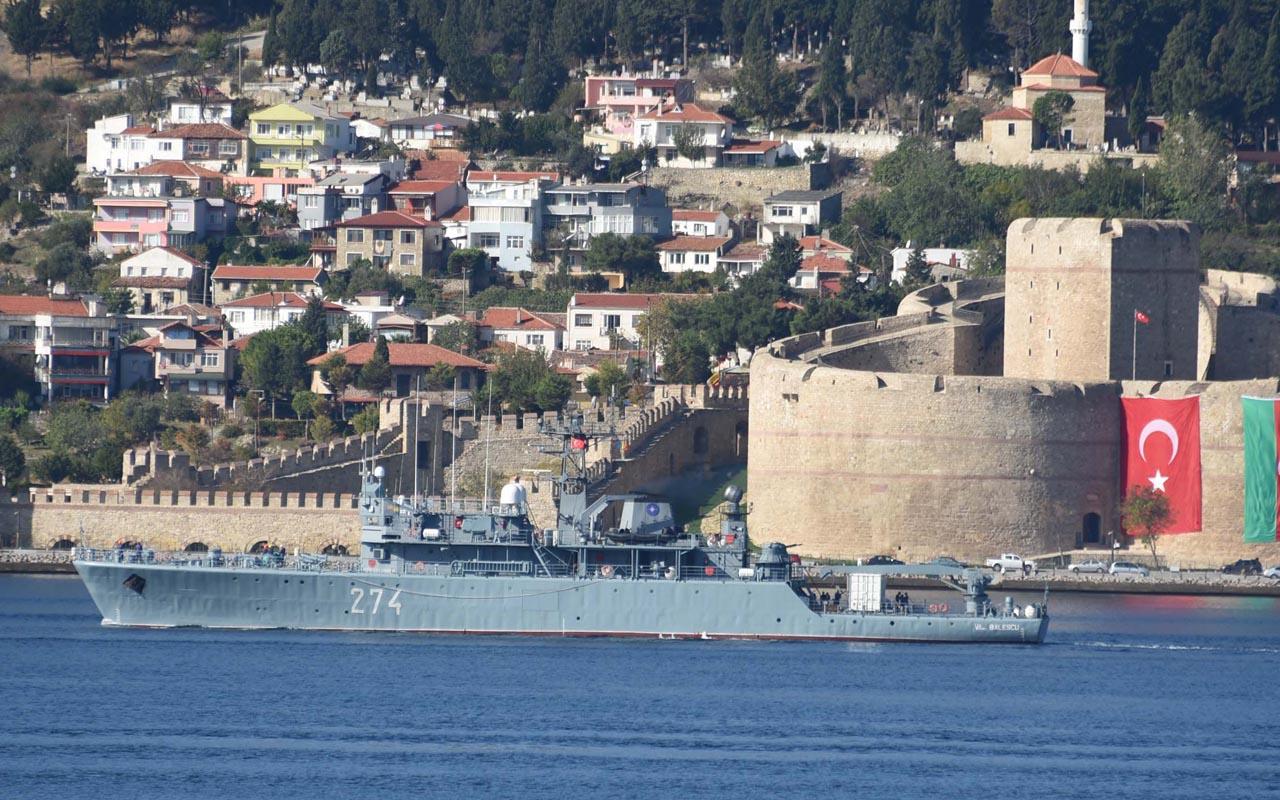 NATO grubundaki Romanya'ya ait mayın gemisi Çanakkale Boğazı'ndan geçti