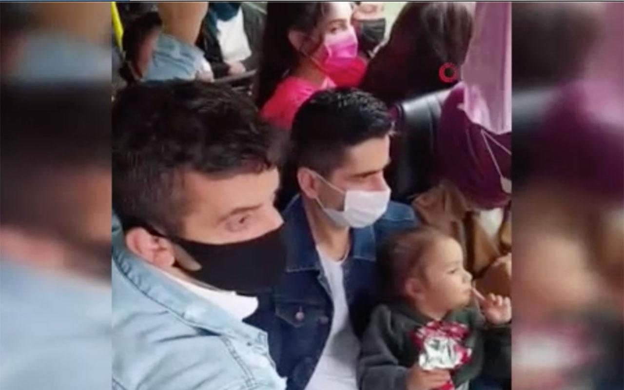 İstanbul'da tıka basa yolcu alan minibüs şoföründen yolcuya pişkin cevap