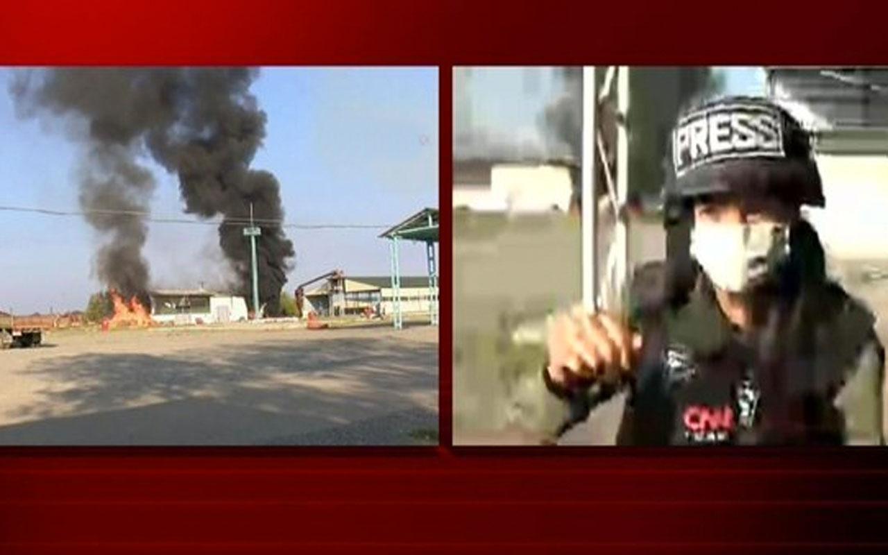 CNN Türk canlı yayınında Fulya Öztürk'ün yakınına bomba düştü Öztürk'ün zor anları kamerada