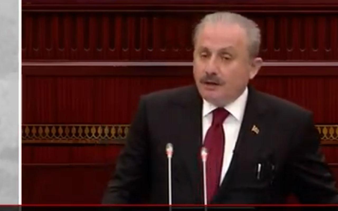 Mustafa Şentop Azerbaycan Meclisi'nde konuştu AGİT Minsk grubunun beyin ölümü gerçekleşmiştir