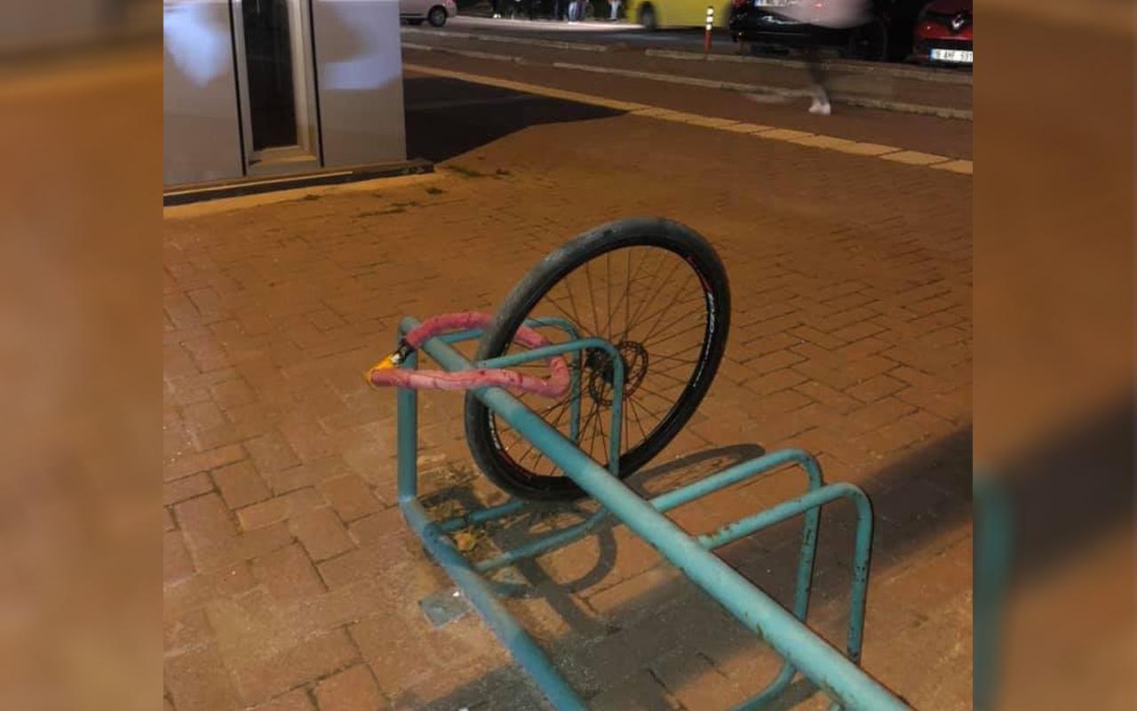 Bursa'da 'yok artık' dedirten hırsızlık: Bisikletinin sadece tekeri kaldı