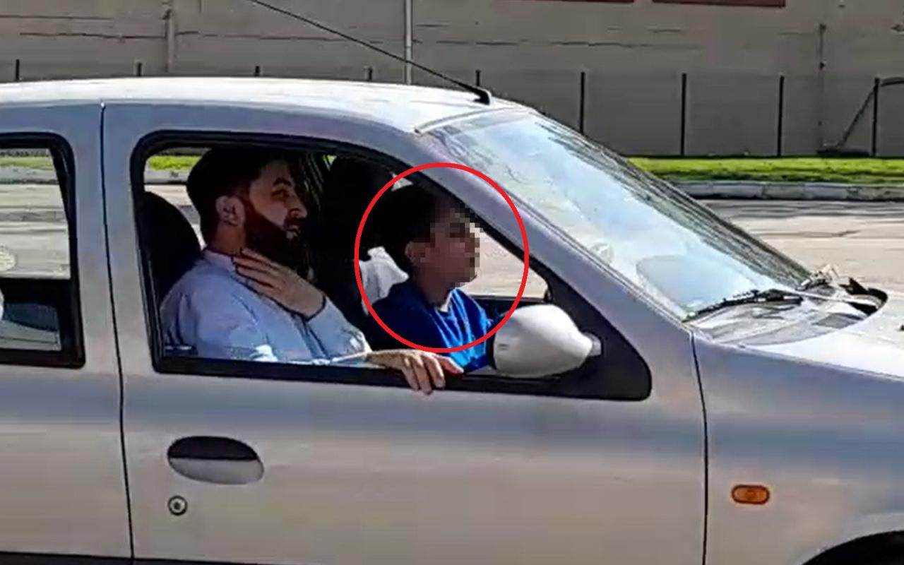 Bursa'da 14 yaşındaki çocuğun otomobil kullandığı anlar kamerada