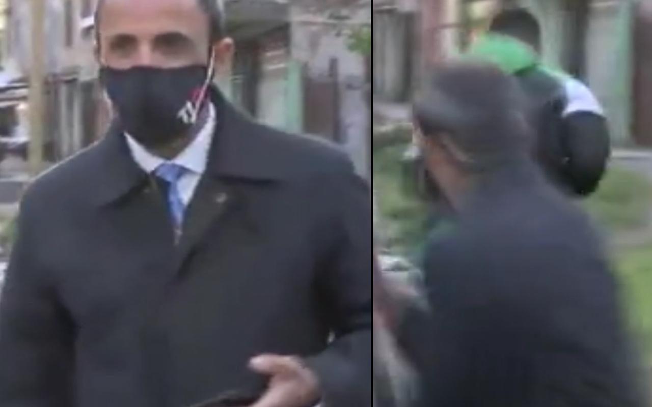 Arjantin'de canlı yayında muhabir telefonunu çaldırdı! Neye uğradığına şaşırdı