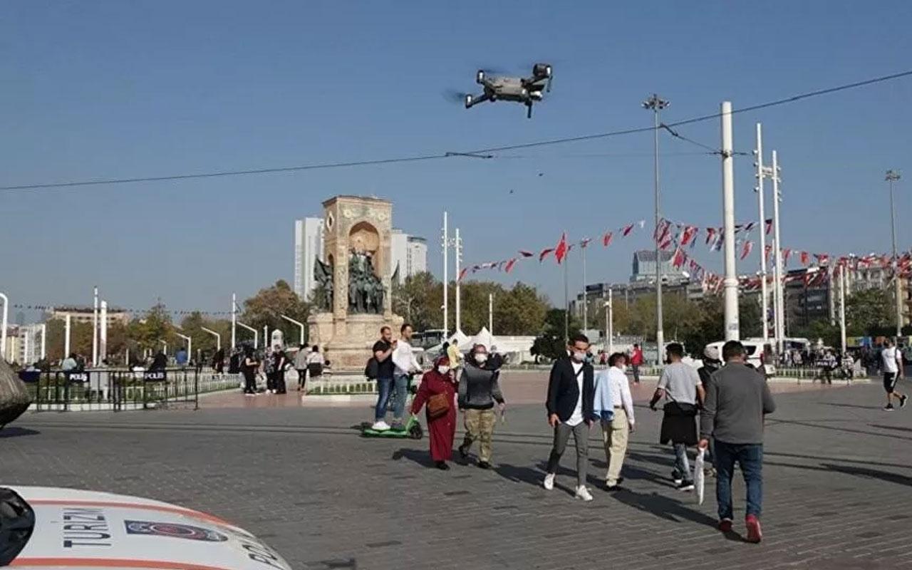 Taksim'de drone'lu maske denetimi şaşkınlık yaratı