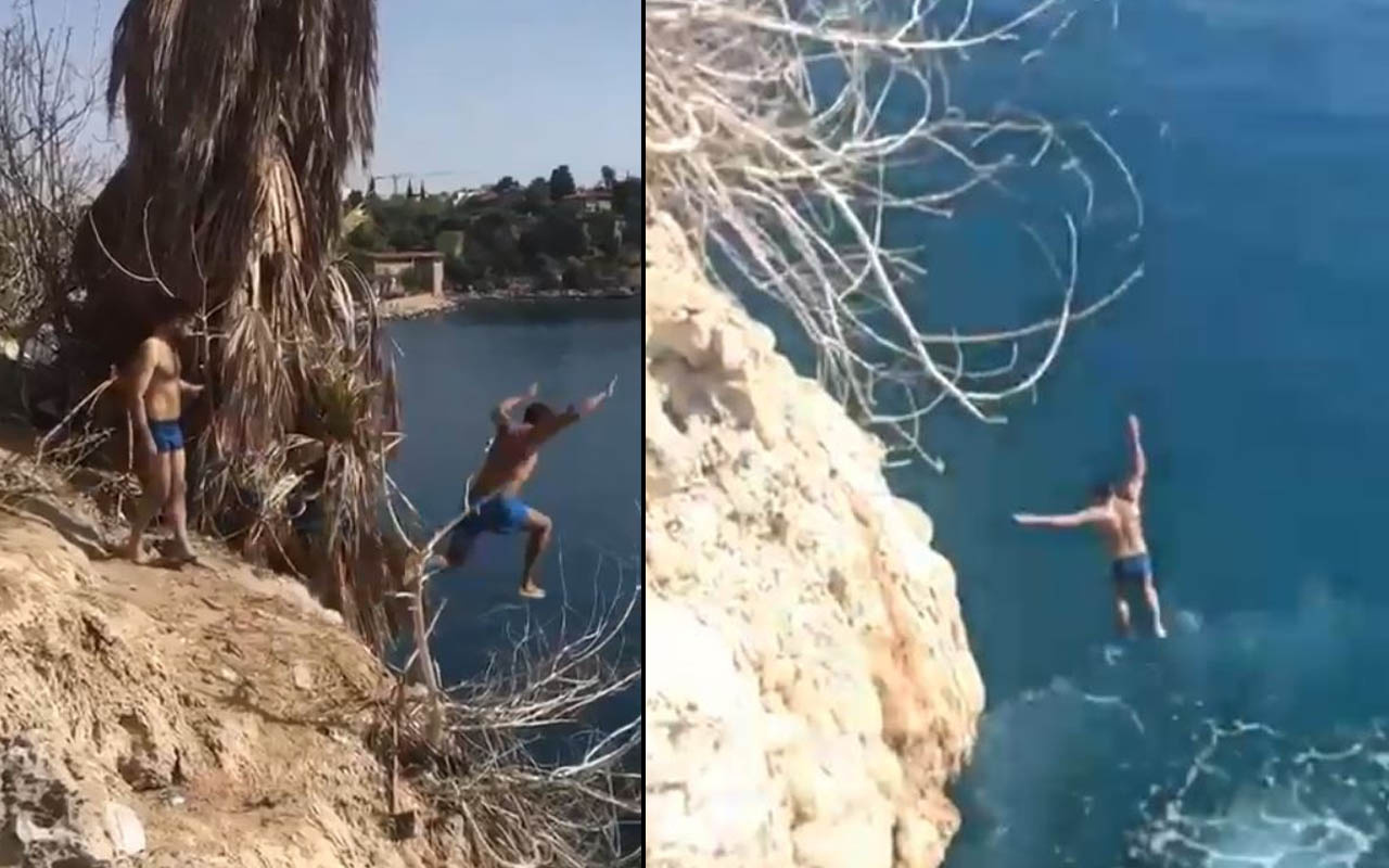 Antalya'da yürekler ağza geldi! 20 metreden aşağı atladı