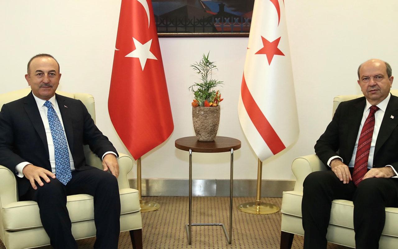 KKTC Cumhurbaşkanı Ersin Tatar, Dışişleri Bakanı Mevlüt Çavuşoğlu'nu kabul etti