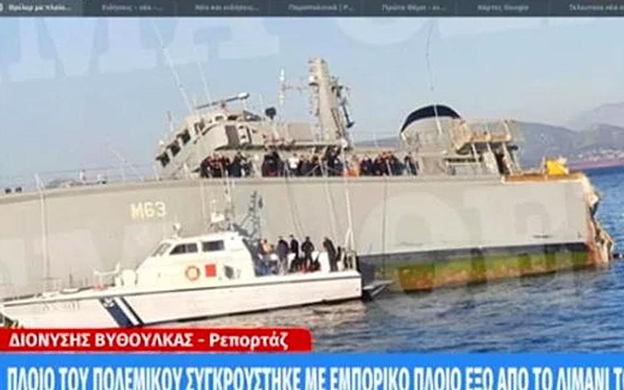 Yunanistan'da konteyner gemileriyle çarpışan donanma gemisi battı