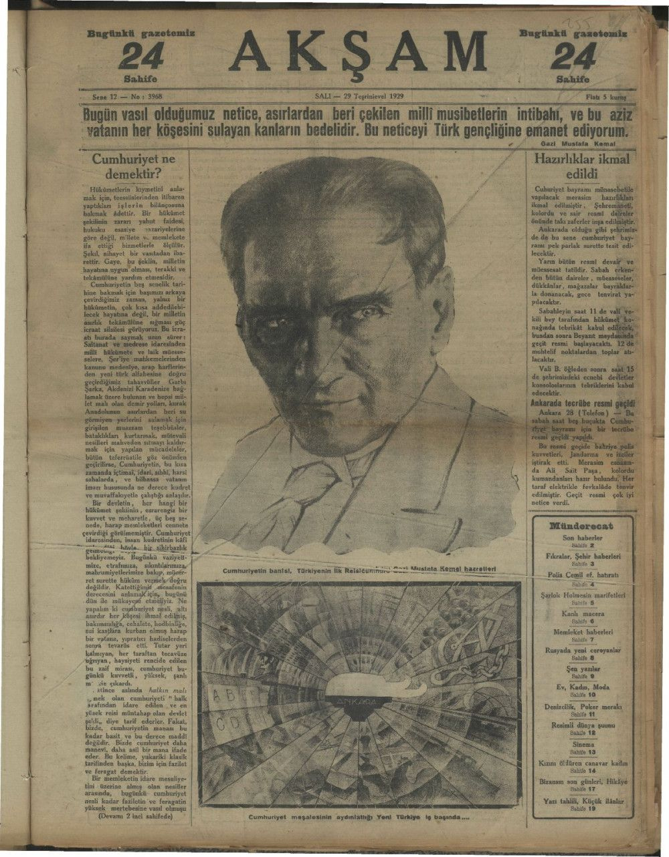 29 Ekim Cumhuriyet Bayramı manşetleri arşivden çıktı ilk kez göreceksiniz