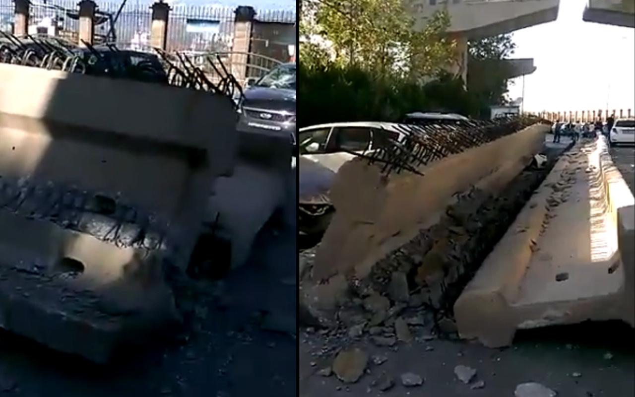 İzmir'de depremde viyadük çöktü! Kolonlar araçların üzerine düştü