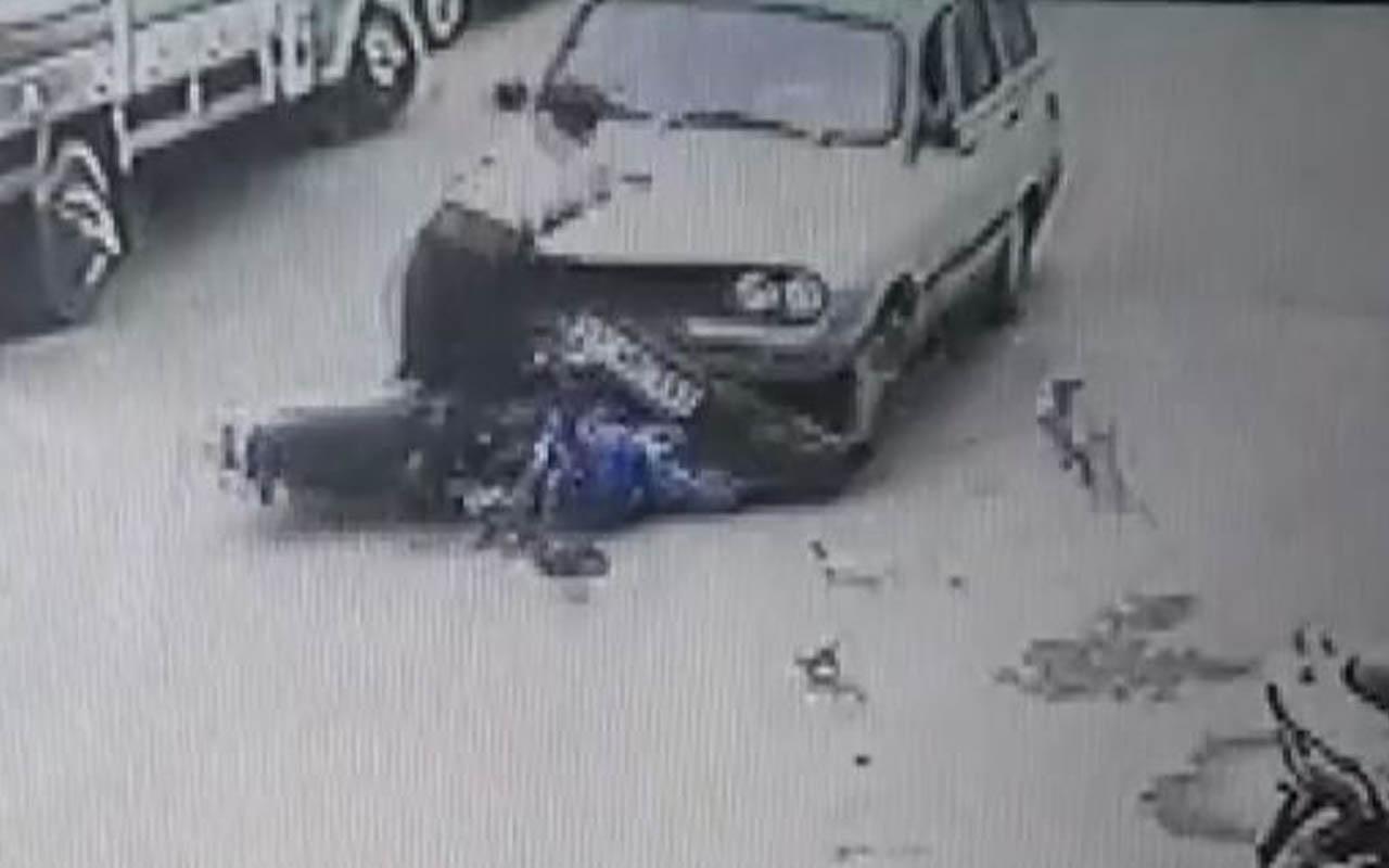 Gaziantep'te trafikte aracın altında kaldı! O anlar güvenlik kamerasında
