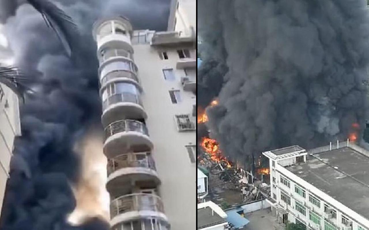 Çin'de çelik yapı üreten fabrikada yangın çıktı! Alev alev yanıyor