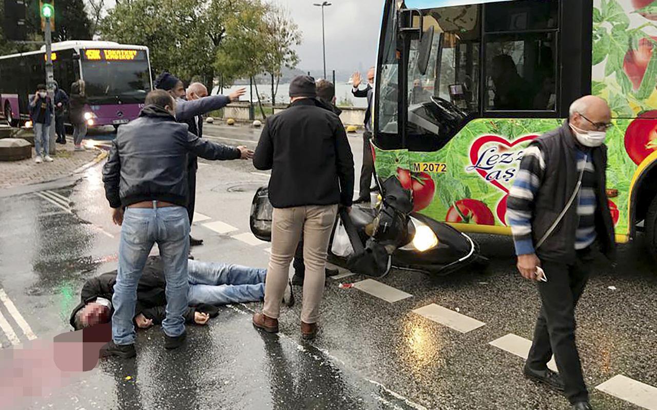 İstanbul'da otobüs motosiklete çarptı! Ortalık kan gölüne döndü