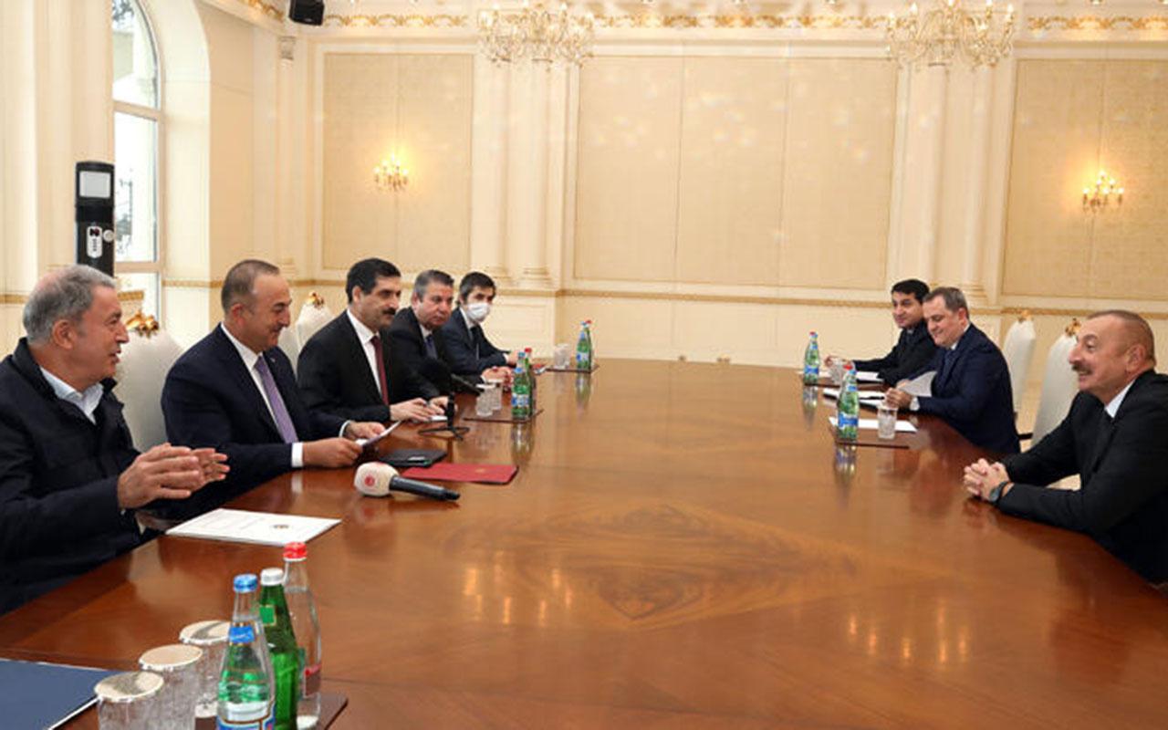 Azerbaycan kritik zirve! Aliyev, Bakan Çavuşoğlu ve Akar'ı kabul etti