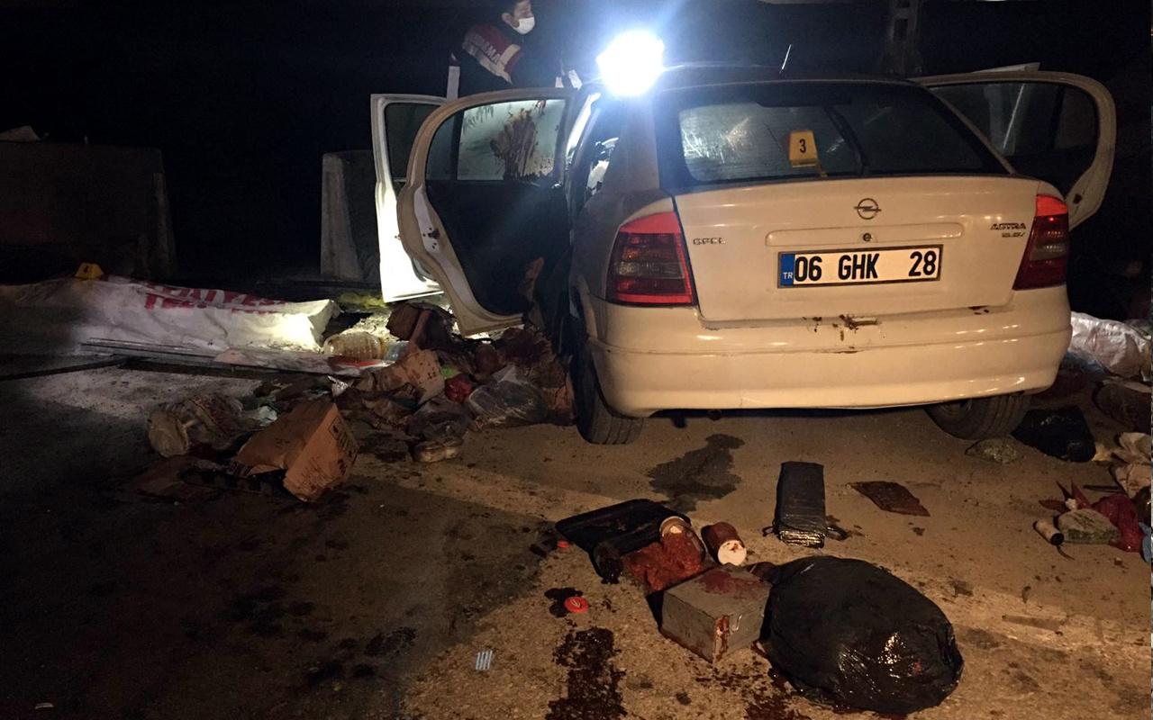 Ankara'da bariyerlere çarpan otomobilde ölüm vuku buldu