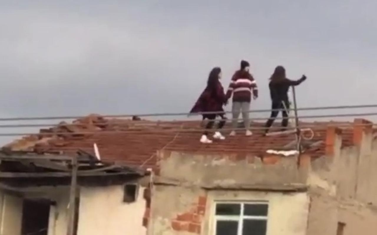 Bursa'da genç kızlar hayatlarını hiçe sayıp çatıya çıktılar! Bakın ne yaptılar
