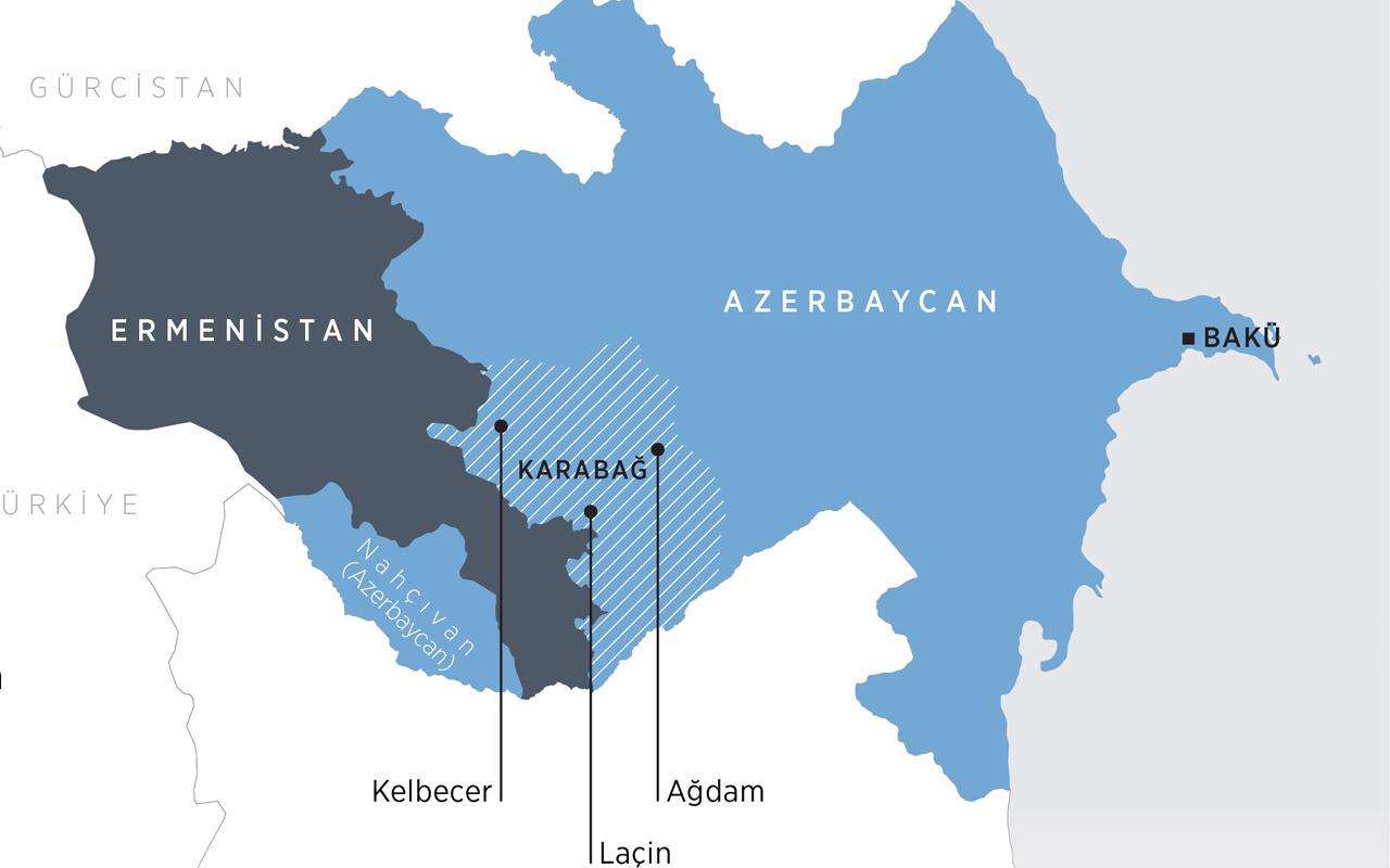 Azerbaycan Ermenistan anlaşması ile alınan yerler Karabağ haritasına bakın
