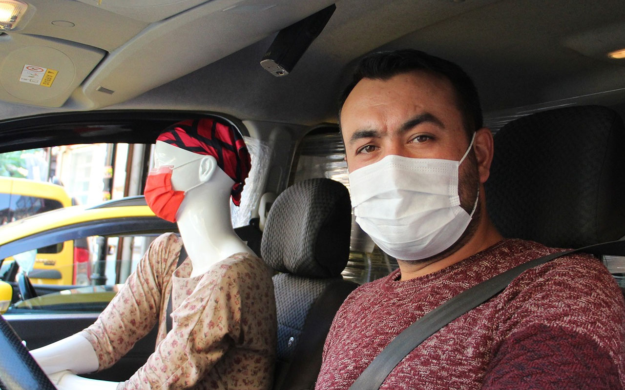 Bunu da gördük! Antalya'da taksiciden koronavirüse cansız mankenli önlem