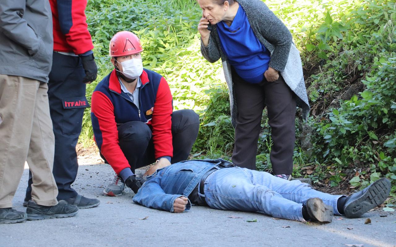 Zonguldak'ta her şey bir anda oldu! Yerden kalkamadı