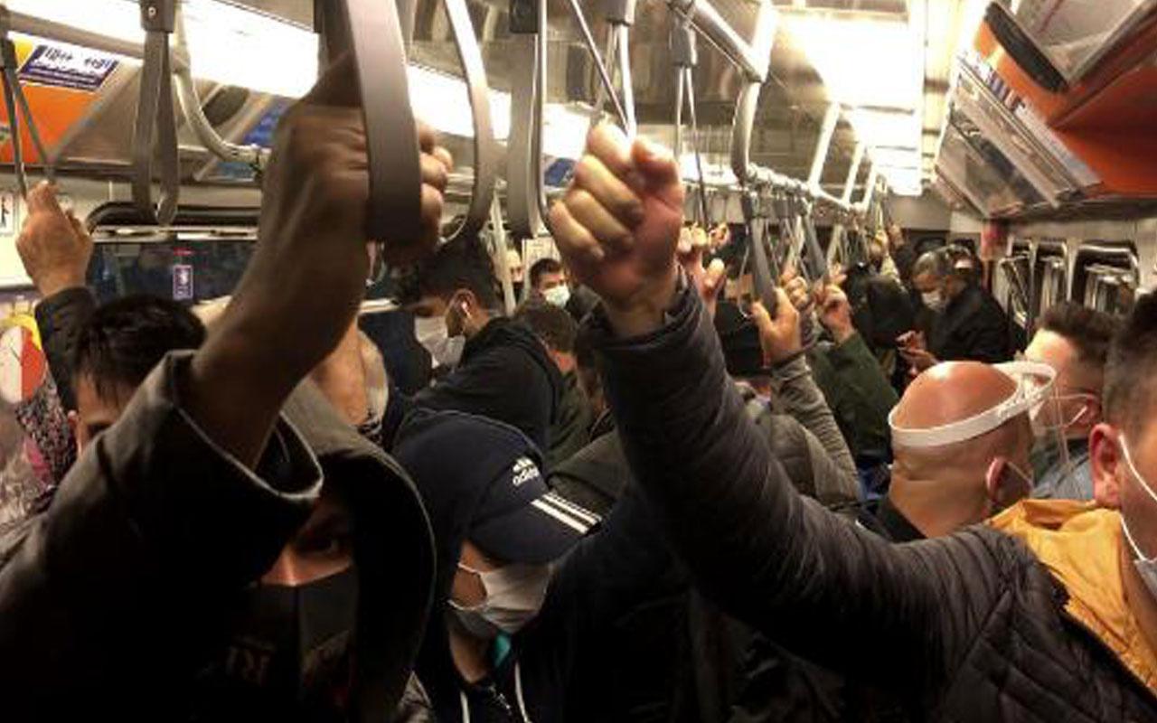 Bu görüntü İstanbul'dan! Metro ve metrobüste yine 'sosyal mesafesiz' ulaşım