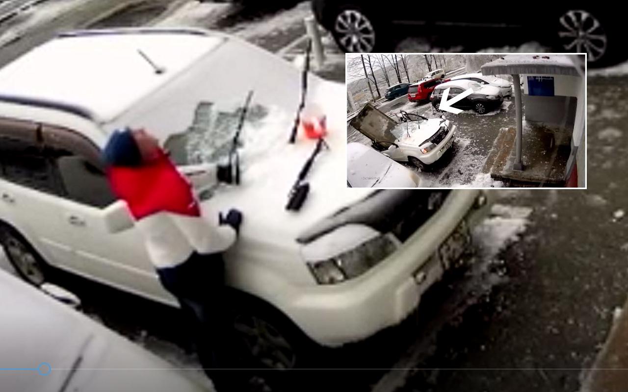 Rusya'da beton parçası arabayı ikiye böldü işte ölümün teğet geçtiği o anlar