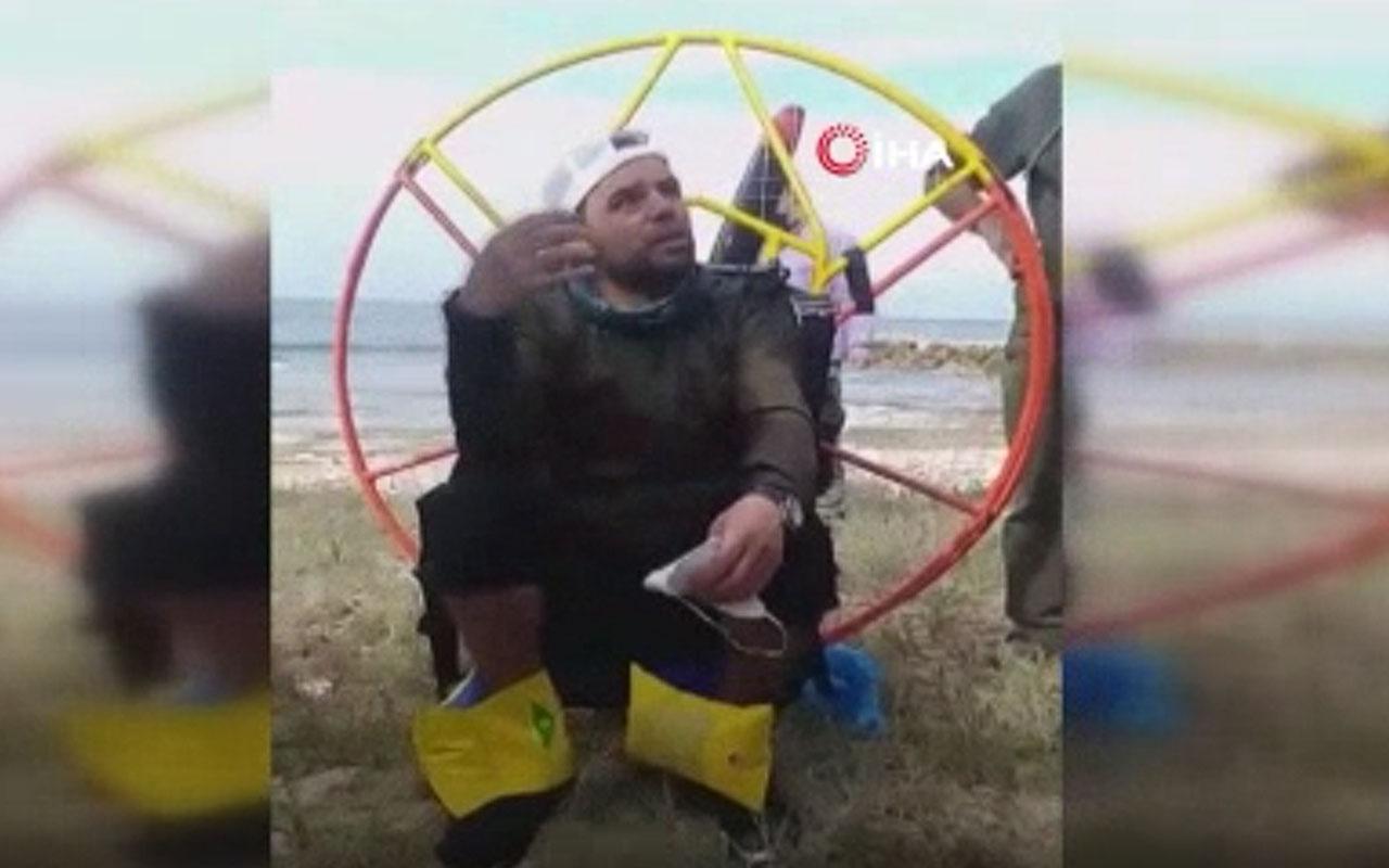 Rüzgara kapılan Türk paraşütçü çareyi Lübnan sahiline inmekte buldu
